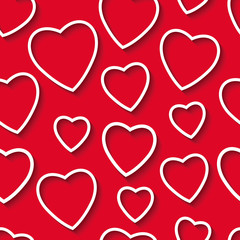 Seamless pattern of the paper hearts on red paper, Valentine Day