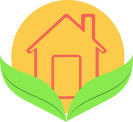 Vector flat icon home, house construction, eco, family