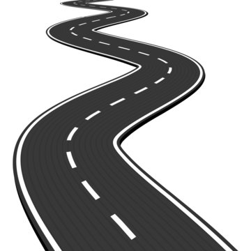 Vector Illustration of winding abstract asphalt road isolated on