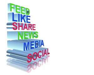 Media social definition with 3d letter