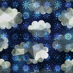 Winter snowfall pattern on night sky background. Seamless patter