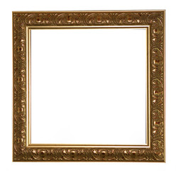 Antique gold frame isolated on a white background.
