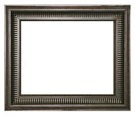 Antique silver frame isolated on a white background.