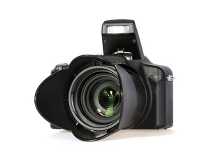 Black Digital Photo Camera on White Background