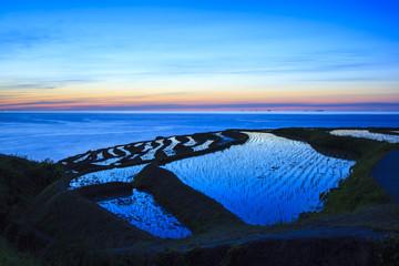 Rice terraces at twilight, Shiroyone senmaida