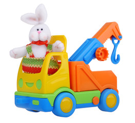 Toy car truck with easter rabbit