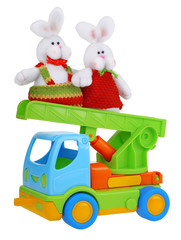 Toy car truck with easter rabbits