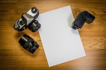 camera with blank photo paper