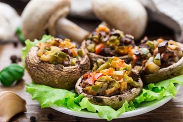 Portobello mushrooms stuffed with vegetables
