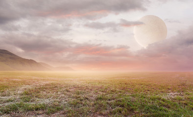 Fantasy beautiful landscape background with sky