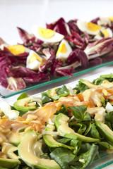 Salads, salmon, organic vegetables, Hard-boiled eggs