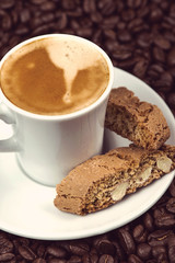 Italian break, fresh expresso coffee with cantuccini cakes