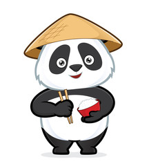 Panda holding a bowl of rice and chopsticks