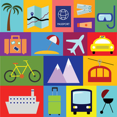 Travel and vacation vector symbols collection