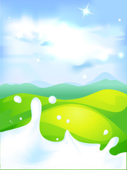 splash of milk - vector illustration with green field
