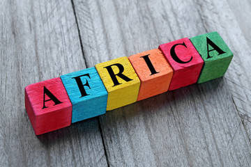 Zelfklevend Fotobehang Algerije word africa on colorful wooden cubes