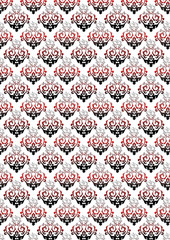White background with black and red floral pattern