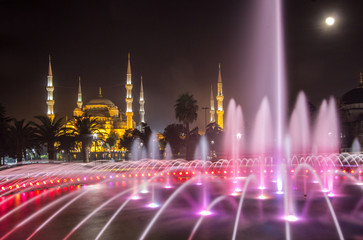 Blue Mosque and fountain, Istanbul, Turkey