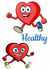 Cartoon running hearts characters