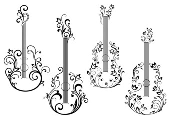 Floral acoustic guitar icons
