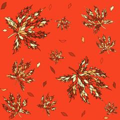 Maple leaves seamless pattern.