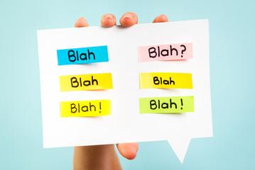 Blah Blah Blah message on speech bubble