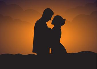 romantic couple silhouette profiles at sunset