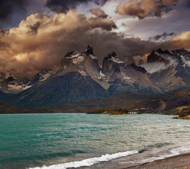 Wall Mural - Sunset in Torres del Paine National Park