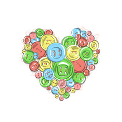 vector illustration heart of the buttons