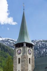 Fototapete - Clock Tower of Church in Zermatt, Switzerland