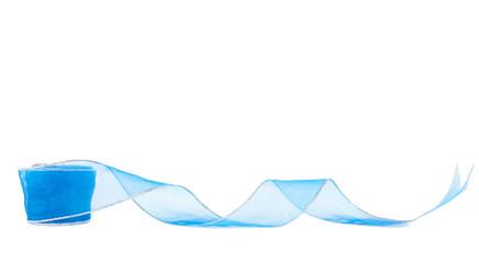 Blue gift ribbon on white background