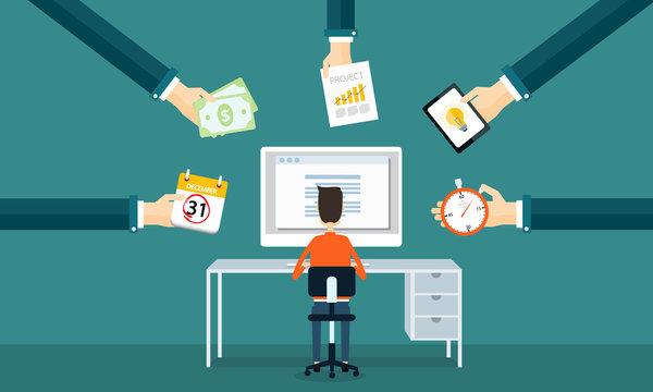 businessman  working on line form order