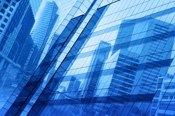 Fototapete - Glass of modern tower blue tone