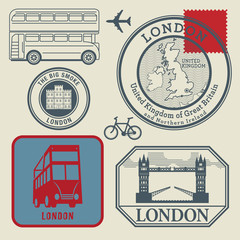 Travel stamps set, London, vector
