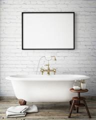 mock up poster frame in vintage bathroom, interior background