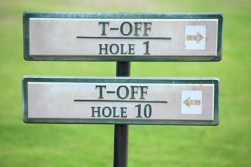 Golf tee off hole sign