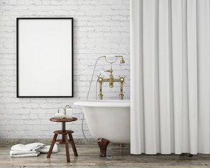 mock up poster frame in vintage bathroom, interior background