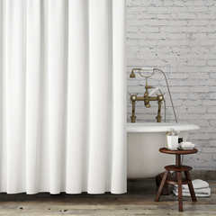 mock up vintage bathroom with curtains, interior background