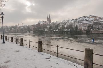 Basel, Stadt, Rheinufer, Kleinbasel, Münster, Winter, Schweiz
