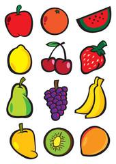 Cartoon Fruits Vector Icon Set