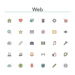 Web Colored Line Icons