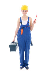 young woman builder in workwear with toolbox and screwdriver iso