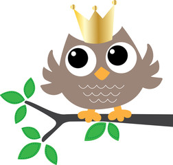 sweet brown owl with a golden crown
