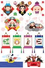 2016年申年年賀状用イラストカットデザイン素材集(三猿・扇・岩風呂・掛け軸・釣り・祝酒)カラフル6点