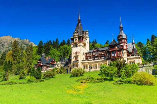 Wonderful ornamental garden and castle,Peles,Sinaia,Romania