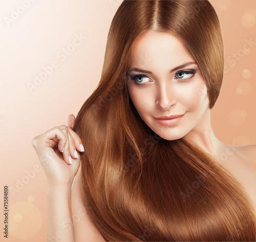 Beautiful Girl With Brown Hair Long Straight Hair Shine Stock