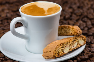 Italian style breakfast, coffee with almond biscuits