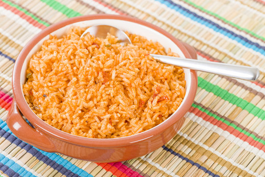 Mexican Rice - Rice cooked with tomato sauce and chicken broth.