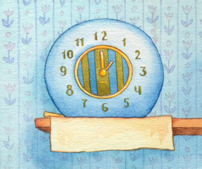 Series of watercolors. Wall clock with banner for text