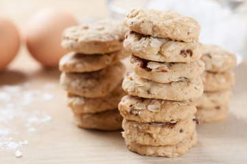 homemade oat cookies with raisin stack